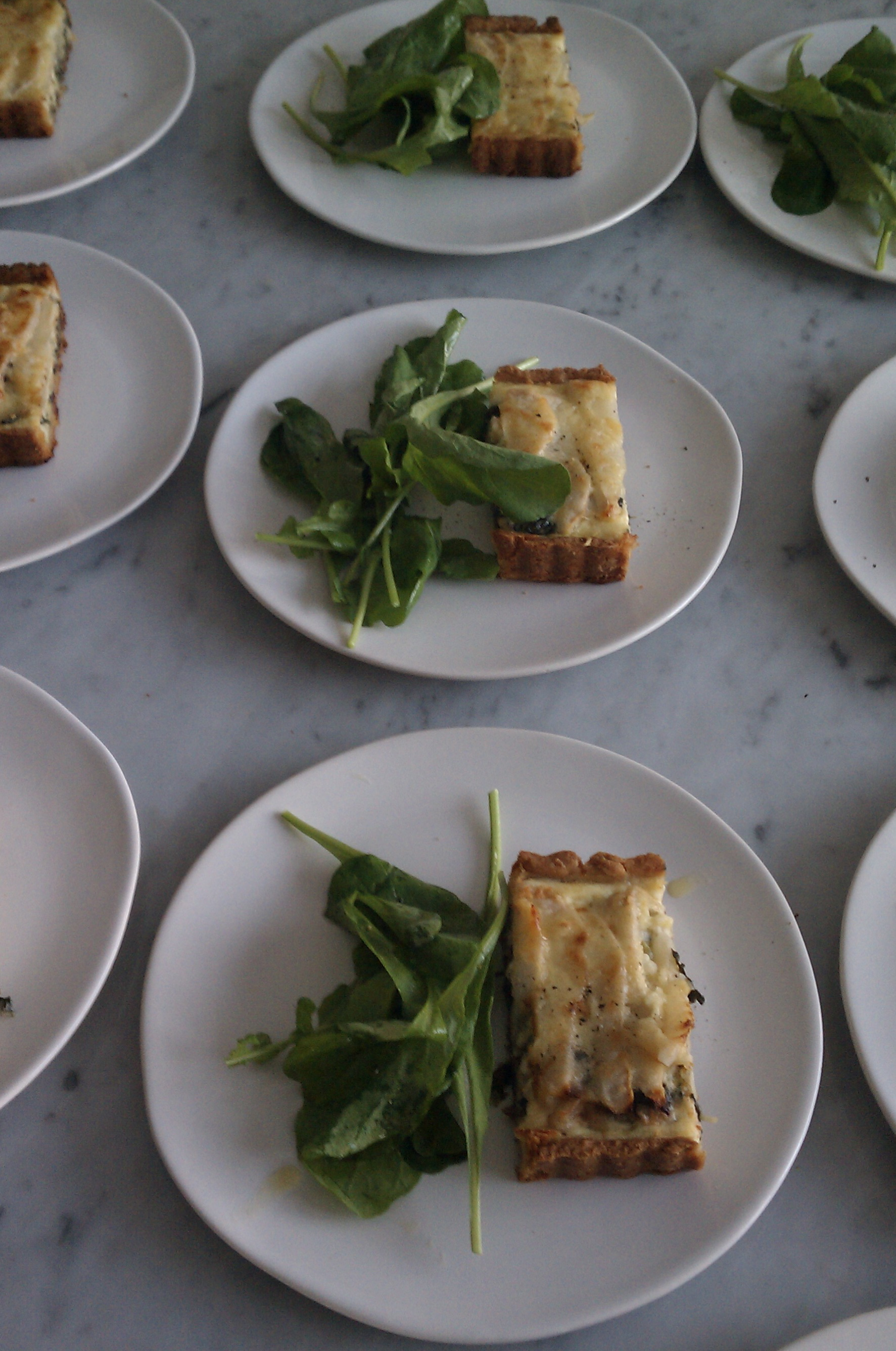 Swiss chard, pear, and gruyere tart